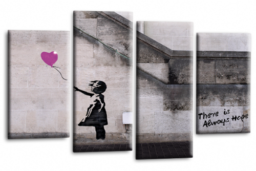 Banksy Canvas Wall Art Picture Print Purple Balloon Girl Hope